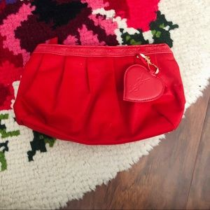 YSL Parfumes Red Cosmetic Heart Clutch Bag